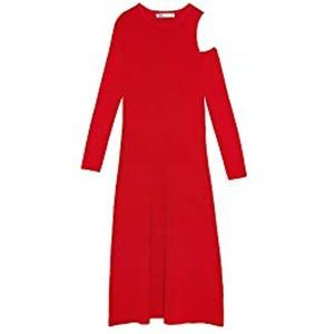 Zara red midi dress cut out shoulder ref 9919/004